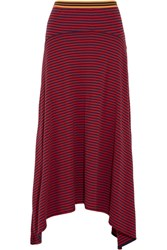 Stella Mccartney Asymmetric Striped Cotton Jersey Skirt Red
