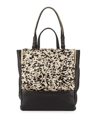 Calf Hair And Leather North South Tote Bag Black Multi Halston Heritage