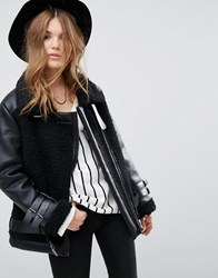Moon River Oversized Shearling Coat Black
