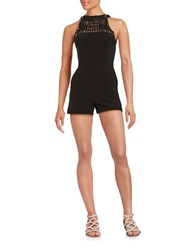 Design Lab Lord And Taylor Woven Accent Romper Black
