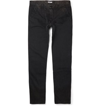 Tomas Maier Slim Fit Faded Stretch Cotton Trousers Black