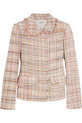 Miu Miu Checked Wool Blend Tweed Jacket Blush
