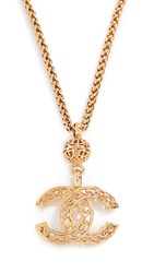 Wgaca What Goes Around Comes Around Chanel Gold Fretwork Cc Necklace Yellow Gold