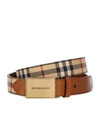 Burberry Shoes And Accessories House Check Gold Buckle Belt Unisex Brown