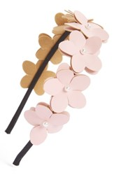 Cara Faux Leather Flower Headband Pink