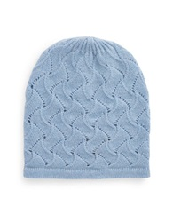 Lord And Taylor Pointelle Cashmere Hat Blue
