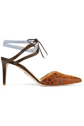 Chelsea Paris Zina Suede Leather And Flocked Elaphe Pumps Brown