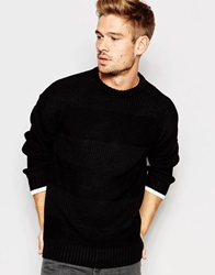 Another Influence Intarsia Stripe Jumper Black