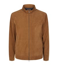 Peter Millar Suede Bomber Jacket Male Tan