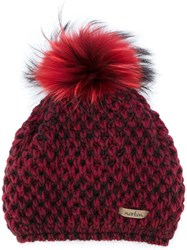Norton Co. Racoon Fur Pom Pom Hat Red