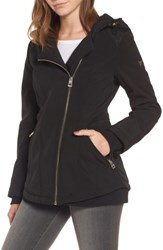 Guess Women's Asymmetrical Soft Shell Coat Black