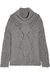 3.1 Phillip Lim Oversized Cable Knit Wool Turtleneck Sweater Gray