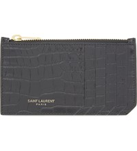 Saint Laurent Rive Gauche Crocodile Embossed Leather Card Holder Black