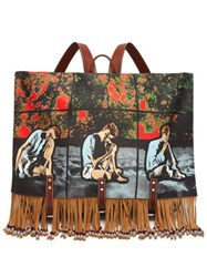 Jw Anderson X Gilbert And George Print Canvas Satchel Backpack Multi