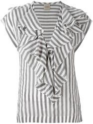 Nude Striped Ruffle Neck Blouse Grey