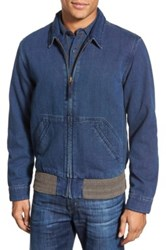 Faherty Zip Front Canvas Jacket Blue