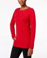 Karen Scott Button Shoulder Knit Pattern Sweater Only At Macy's New Red Amore