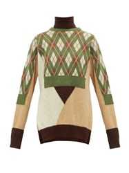 Preen By Thornton Bregazzi Charlie Layered Wool Blend Sweater Green Multi
