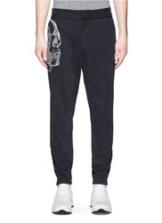 Alexander Mcqueen Skull Sketch Embroidery Jogging Pants Black