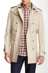 Sandro Magnetic Leather Trim Trench Coat Beige