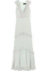 Saloni Rita Ruffled Fil Coupe Georgette Maxi Dress Mint