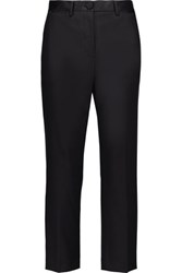 Helmut Lang Cropped Satin Trimmed Wool Blend Straight Leg Pants Navy