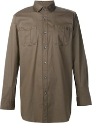 Publish Button Front Long Shirt Brown