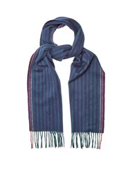 Paul Smith Striped Wool And Cashmere Blend Scarf Green Multi