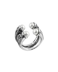 Konstantino Silver And Pearl Open Double Band Ring Women's