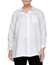 Go Silk Long Sleeve Linen Button Front Blouse White