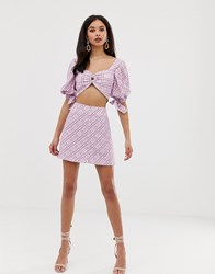 Finders Keepers Nostalgia Co Ord Check Skirt Purple