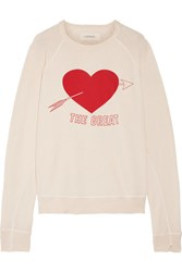 The Great College Distressed Printed Cotton Jersey Sweatshirt Beige
