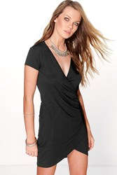 Boohoo Cap Sleeve V Neck Wrap Dress Black