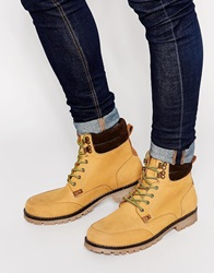 Asos Lace Up Boots In Tan Leather With Contrast Cuff
