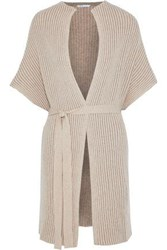 Agnona Belted Ribbed Cashmere Cardigan Neutral