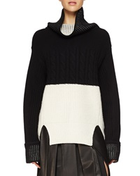 Prabal Gurung Cashmere Oversized Bicolor Knit Sweater