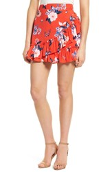 Cupcakes And Cashmere Elisa Floral Ruffle Skirt Poppy Red