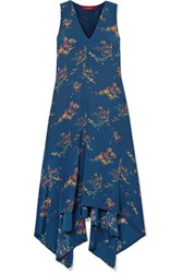 Sies Marjan Asymmetric Printed Crepe De Chine Midi Dress Navy
