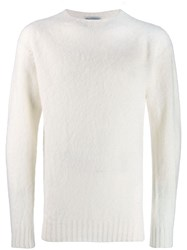Officine Generale Long Sleeve Fitted Sweater White