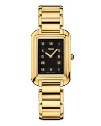 Fendi Classico Medium Stainless Steel Rectangle Watch Black Gold
