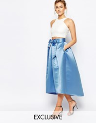 Closet Bow Front Midi Skirt In Sateen Powder Blue