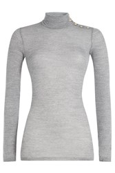Balmain Wool Turtleneck Pullover With Embossed Buttons Grey