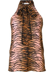 A.L.C. Tiger Print Sleeveless Blouse Pink Purple