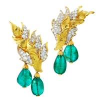 David Webb Couture Flame Earrings Green