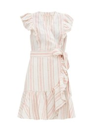 Rebecca Taylor Ruffled Striped Linen Mini Wrap Dress Cream Multi