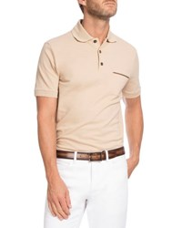 Berluti Leather Trim Polo Shirt Cream White