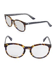 Gucci 57Mm Tortoiseshell Pantos Optical Glasses Blue Havana