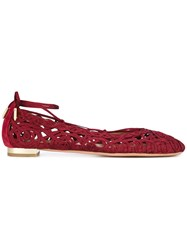 Aquazzura Ankle Tie Ballerina Shoes Women Cotton Leather Suede Polyester 36.5 Red