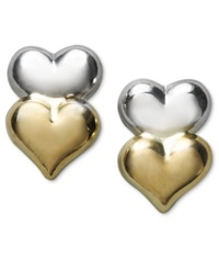 Macy's 10K Gold And 10K White Gold Earrings Double Heart Stud Earrings