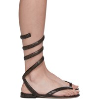 Bottega Veneta Brown Python Spiral Sandals